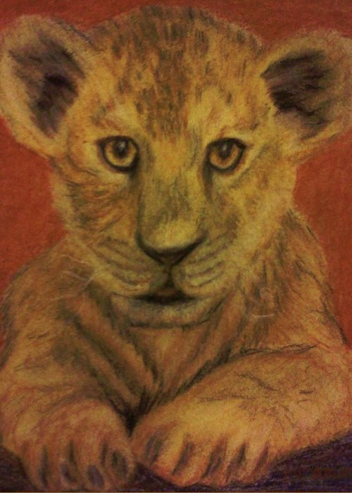 Lions Greeting Card featuring the pastel Lion Cub by Christy Saunders Church