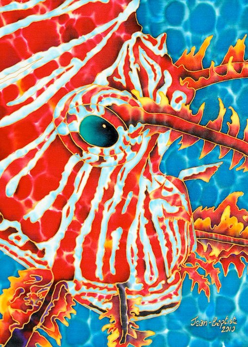 Fish Painting Greeting Card featuring the tapestry - textile Lion Fish Face by Daniel Jean-Baptiste