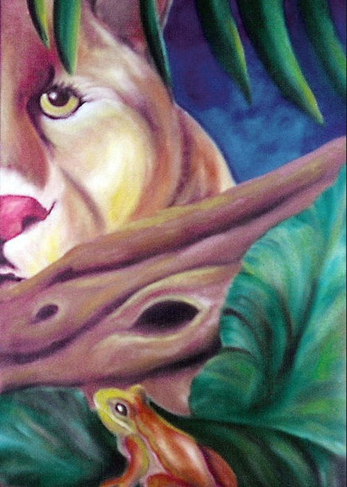Landscape Greeting Card featuring the drawing Lioness And Frog by Juliana Dube