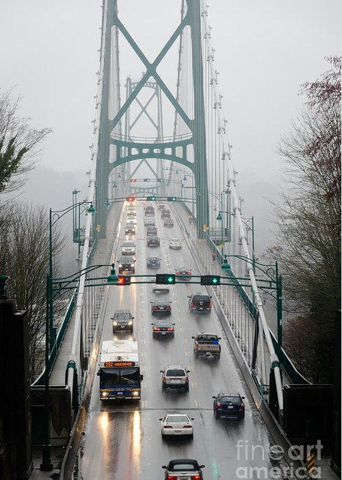 Lions Gate Greeting Card featuring the photograph Lions Mist Lions Gate Bridge From Stanley Park Vancouver Bc by Andy Smy