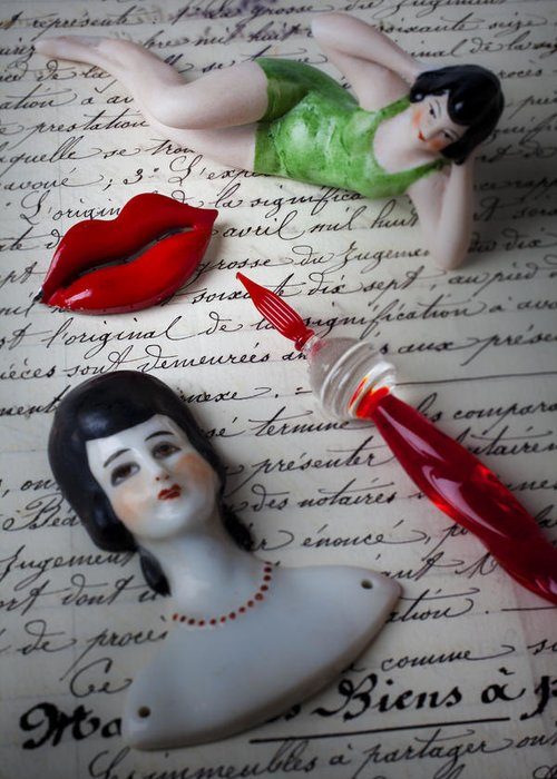 Red Lips Greeting Card featuring the photograph Lips Pen And Old Letter by Garry Gay