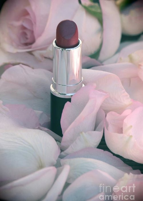 Lipstick Greeting Card featuring the photograph Lipstick And Roses by Sophie Vigneault
