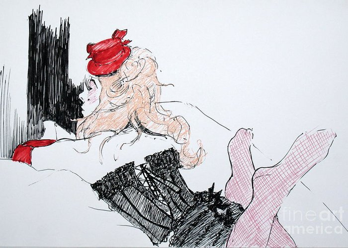 Moulin Rouge Greeting Card featuring the drawing Lisa by Joanne Claxton