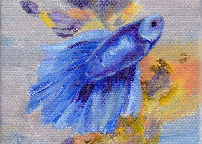 Betta Fish Greeting Card featuring the painting Little Blue Betta Fish by Brenda Thour