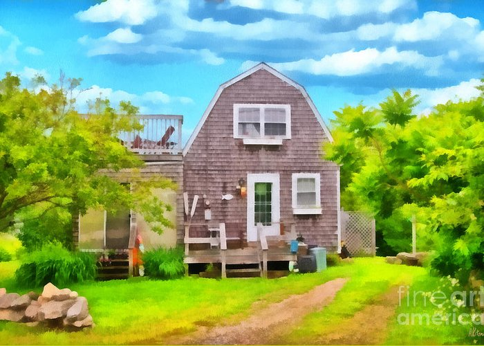 House Greeting Card featuring the painting Little Cottage By The Sea by Anne Kitzman