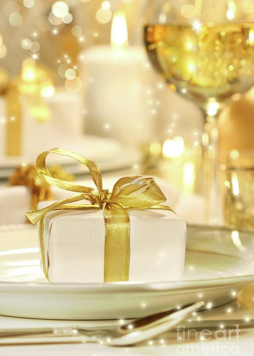 Banquet Greeting Card featuring the photograph Little Gold Ribboned Gift by Sandra Cunningham