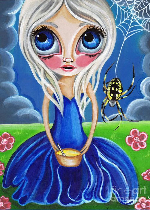 Little Greeting Card featuring the painting Little Miss Muffet by Jaz Higgins