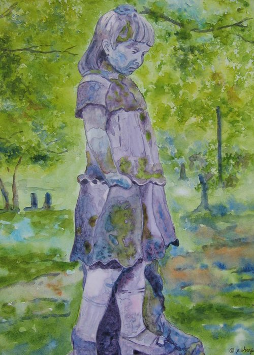 Statue Portrait Greeting Card featuring the painting Little Nanny by Patsy Sharpe