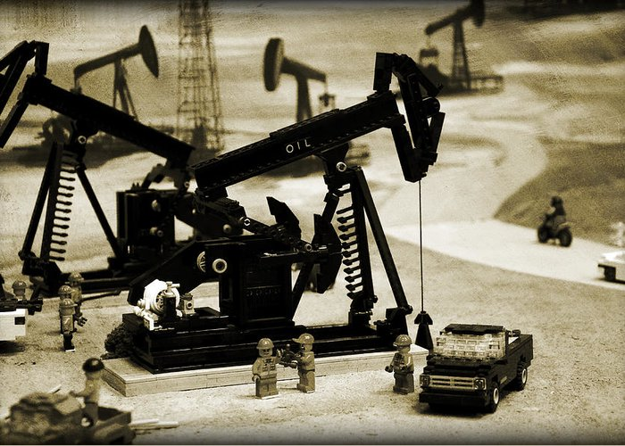 Oil Greeting Card featuring the photograph Little Pumpjacks by Ricky Barnard