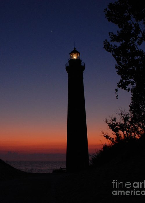 Lighthouse Greeting Card featuring the photograph Little Sable Point Lighthouse After Sunset by Grace Grogan
