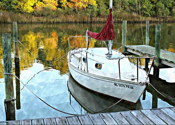 Sailboat Greeting Card featuring the photograph Little Sailboat by Lynn Jordan