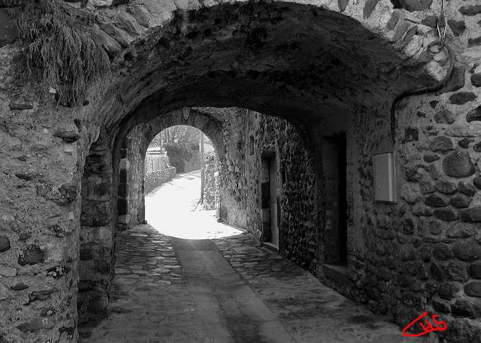 Colette Greeting Card featuring the photograph Little Street La Roche Alba Ardeche France by Colette V Hera Guggenheim