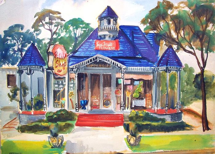 Towns Greeting Card featuring the painting Little Town Flower Shop by Bill Joseph Markowski