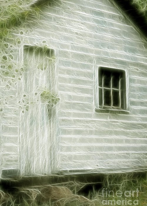Building Greeting Card featuring the photograph Little White Building Onaping by Marjorie Imbeau