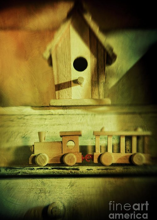 Abandoned Greeting Card featuring the photograph Little Wooden Train On Shelf by Sandra Cunningham