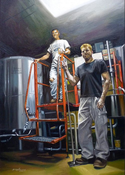 Beer Greeting Card featuring the painting Live Oak Brewing Company Austin Texas by Gregg Hinlicky