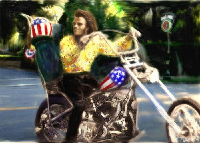 Peter Fonda Greeting Card featuring the painting Living The Dream by Michael Cleere