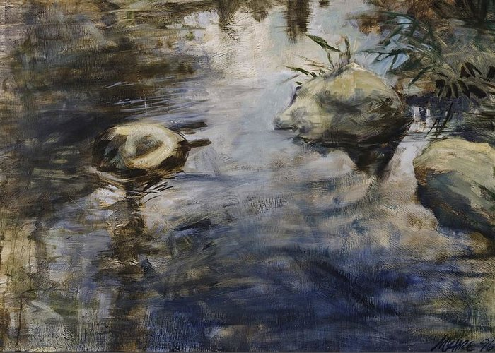 Water Greeting Card featuring the painting Living Water 2 by Paul Myhre