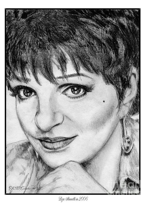 Liza Minnelli Greeting Card featuring the drawing Liza Minnelli In 2006 by J McCombie