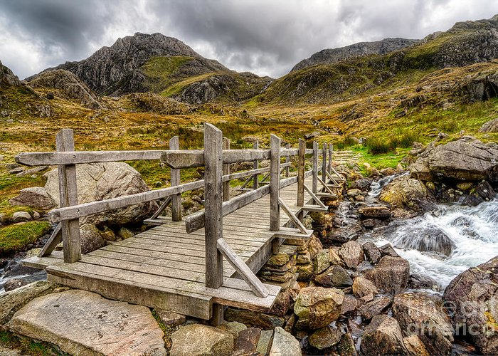 Bridge Greeting Card featuring the photograph Llyn Idwal Bridge by Adrian Evans
