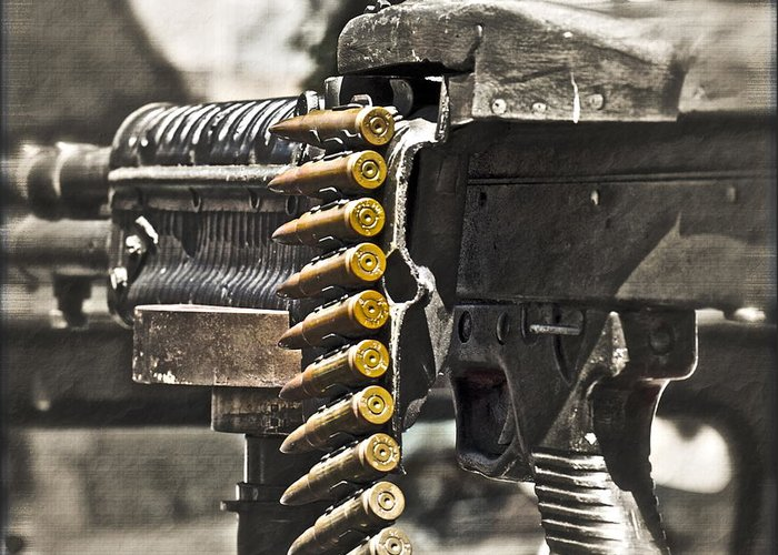 Machine Gun Greeting Card featuring the photograph Load Of Ambition by Gwyn Newcombe