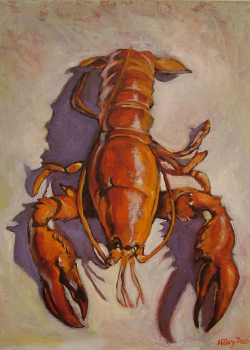 Lobster Greeting Card featuring the painting Lobster by Hillary Gross