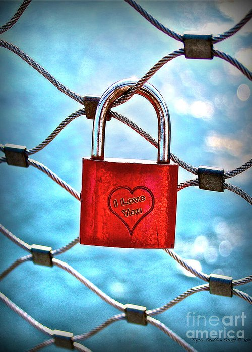 A Padlock On A Bridge Fence In Salzburg Austria Greeting Card featuring the photograph Locked In It Together by Taylor Steffen SCOTT