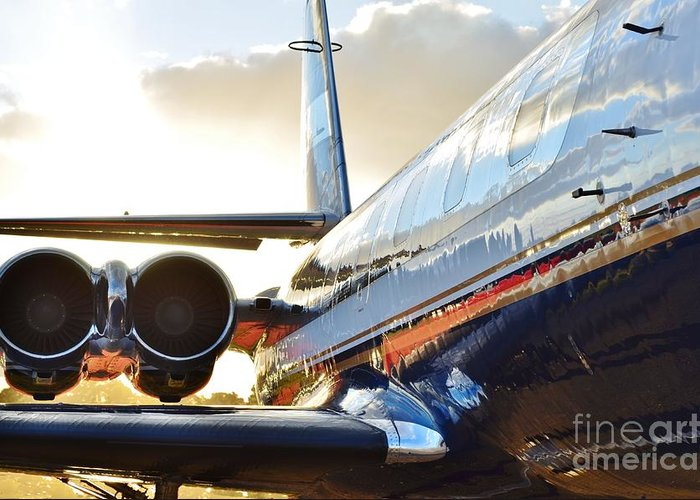 Jetliner Chrome Greeting Cards