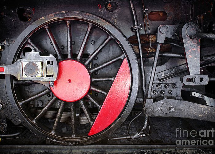 Antique Greeting Card featuring the photograph Locomotive Wheel by Carlos Caetano