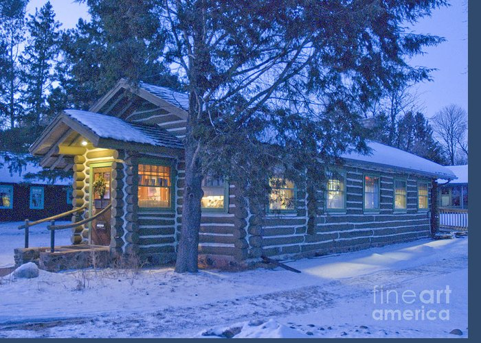 Log Greeting Card featuring the photograph Log Cabin Library 1 by Jim Wright