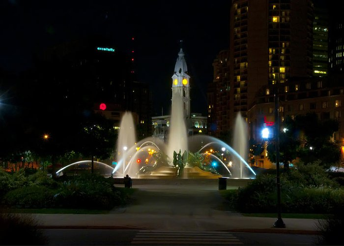 Fountain Greeting Card featuring the photograph Logan Circle Fountain With City Hall At Night by Bill Cannon