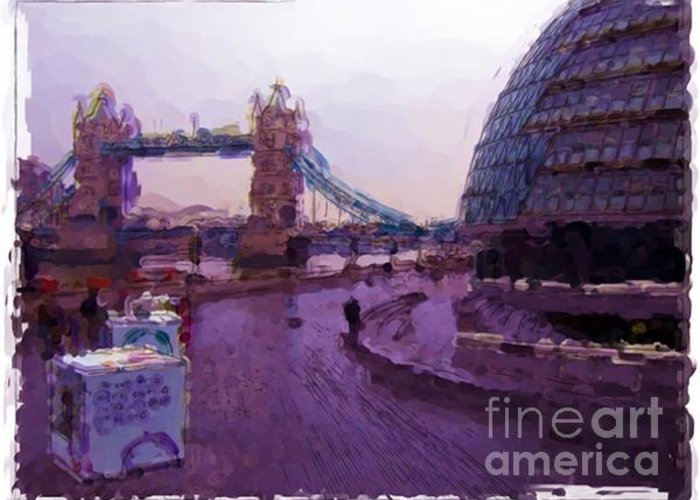 Landscapes Greeting Card featuring the painting London - England by Franck Guarinos