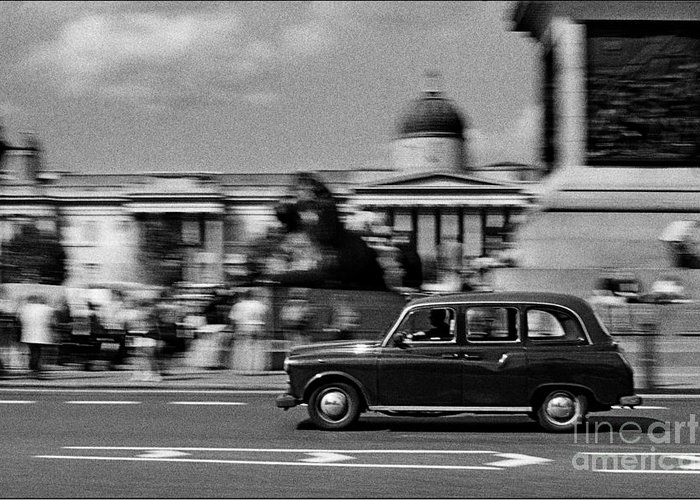Black Cab Greeting Card featuring the photograph London Cab In Trafalgar Square by Aldo Cervato