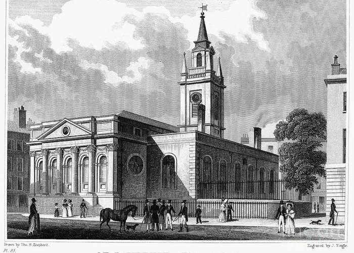 1830 Greeting Card featuring the photograph London: Church, C1830 by Granger