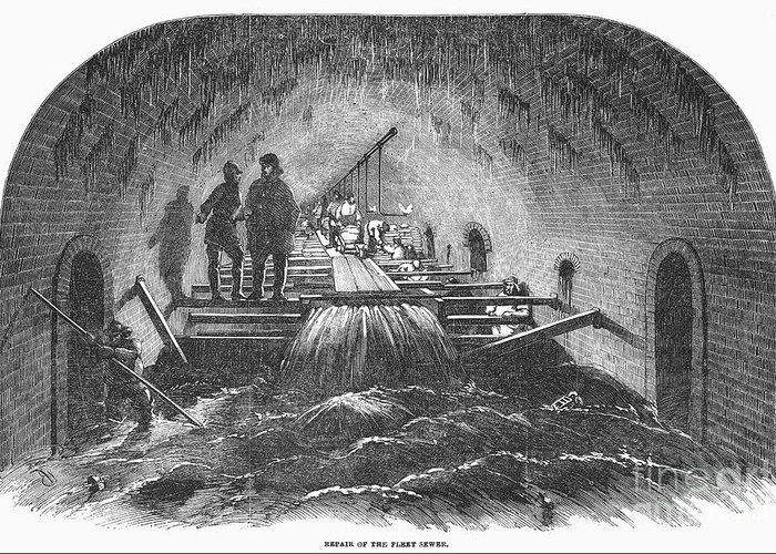 1854 Greeting Card featuring the photograph London: Fleet Street Sewer by Granger