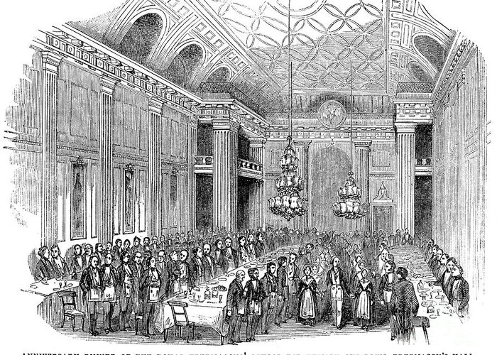 1843 Greeting Card featuring the photograph London: Freemasons Hall by Granger
