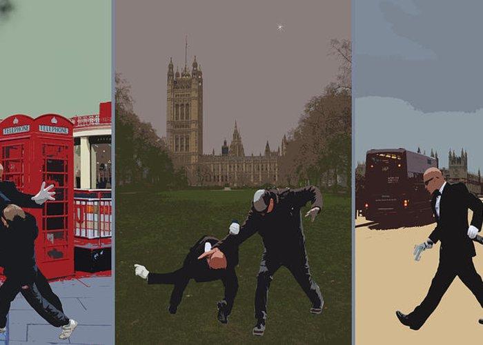 Matrix Greeting Card featuring the photograph London Matrix Triptych by Jasna Buncic