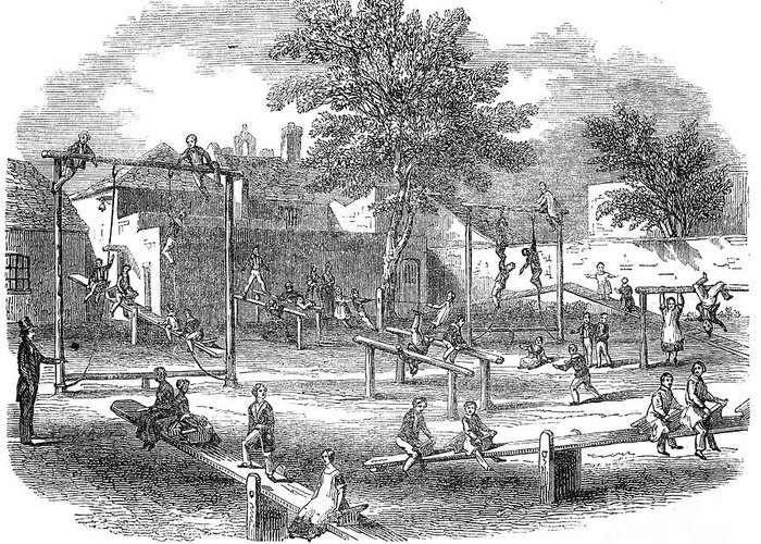 1843 Greeting Card featuring the photograph London Playground, 1843 by Granger