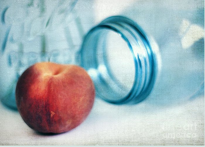 Appetizer Greeting Card featuring the photograph Lone Peach by Darren Fisher