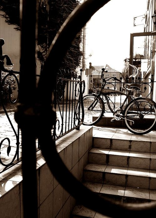 Bike Greeting Card featuring the photograph Lonely Bike by Birut Ces