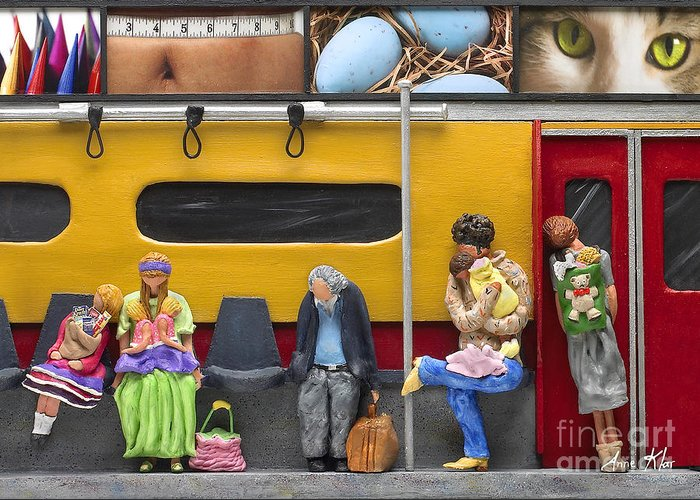 Subway Greeting Card featuring the sculpture Lonely Travelers - Crop Of Original - To See Complete Artwork Click View All by Anne Klar