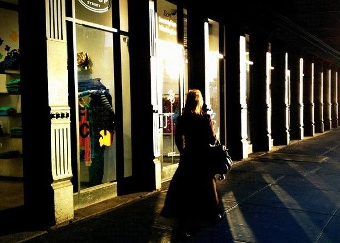 Shadows Greeting Card featuring the photograph Lonely Winter Afternoon On Chelsea by Joel Lopez