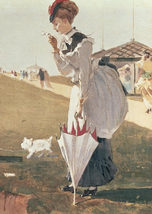 Long Branch (detail) By Winslow Homer (1836-1910) Greeting Card featuring the painting Long Branch by Winslow Homer