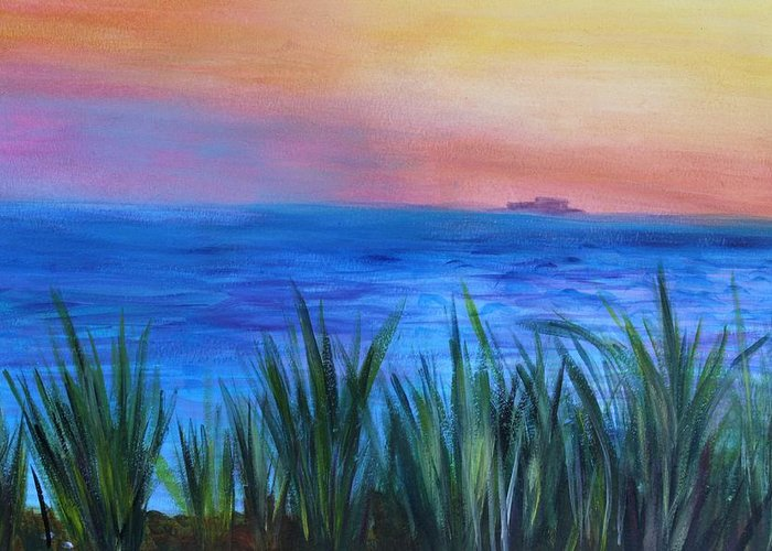 Beach Grass Greeting Card featuring the painting Long Island Sound Sunset by Donna Walsh