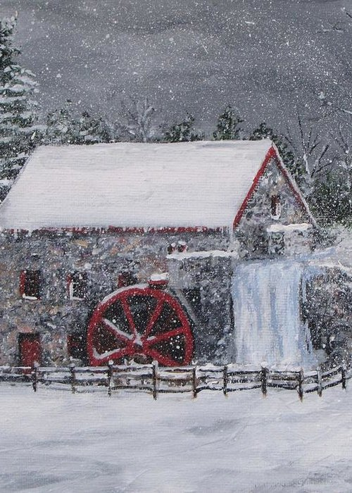Sudbury Ma Greeting Card featuring the painting Longfellow's Grist Mill In Winter by Jack Skinner