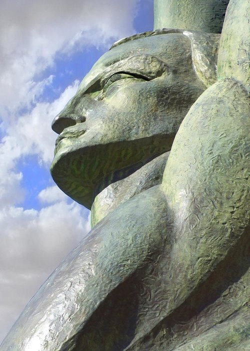 Winged Statue Greeting Card featuring the photograph Look To The Sky - L by Mike McGlothlen