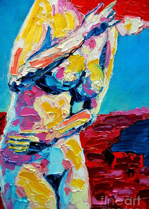 Nude Greeting Card featuring the painting Looking Back by Ana Maria Edulescu