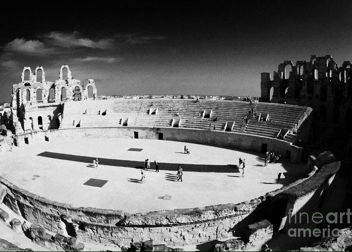 Tunisia Greeting Card featuring the photograph Looking Down On Main Arena Of Old Roman Colloseum El Jem Tunisia by Joe Fox