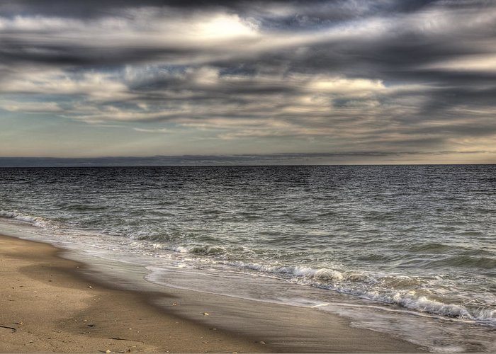 Beach Greeting Card featuring the photograph Looking East by Steve Gravano