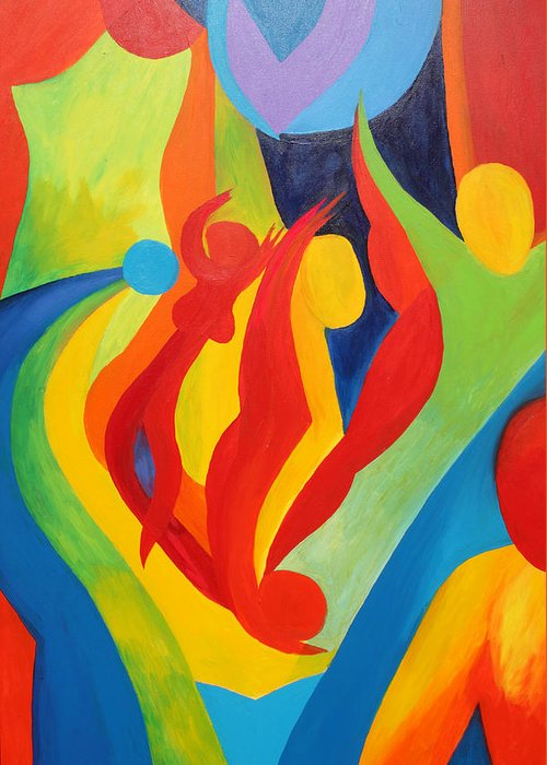 Abstract Greeting Card featuring the painting Looking For Perfection by Peter Shor